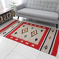 Wool dhurrie rug, 'Scarlet Sands' (4x6)