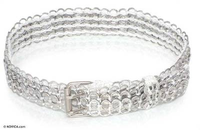 Soda pop-top belt, 'Pearl White Armor Chain Mail' - Recycled Soda Pop Top Belt
