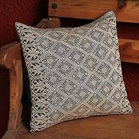 Cotton cushion cover, 'Highlands Elegance' - Mexican 100% Cotton Cushion Cover in Dark Green and Beige