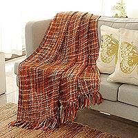 Throw, 'Joyous Earth' - Unique Woven Throw Blanket