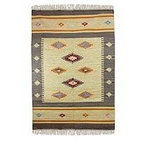Wool dhurrie rug, 'Festive Stars' (4x6)