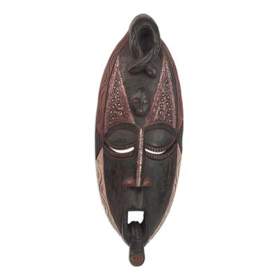 Ghanaian wood mask, 'Owo Snake' - African wood mask