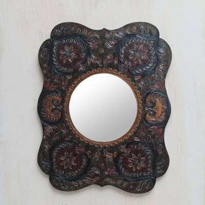 Leather wall mirror, 'Floral' - Dark Green Leather Wall Mirror Peru Colonial Style