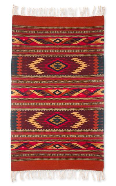Zapotec wool rug, 'Star Twins' (2.5x5) - Geometric Wool Area Rug (2.5x5)