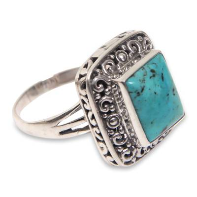 Sterling Silver Handcrafted Natural Turquoise Cocktail Ring