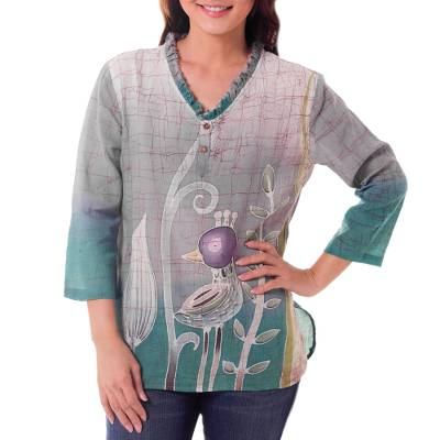 Cotton batik tunic, 'Purple Bird' - Cotton Batik Bird Print Blouse
