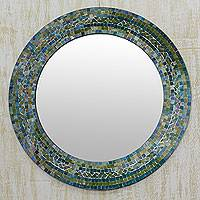 Glass mosaic wall mirror, 'Forest Charm' - Indian Handcrafted Glass Mosaic Wall Mirror