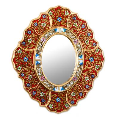 Reverse painted glass wall mirror, 'Floral Crimson' - Unique Red and Gold Reverse Painted Glass Wall Mirror