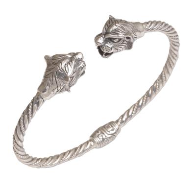 Sterling silver cuff bracelet, 'Law of the Jungle' - Tiger-Themed Sterling Silver Cuff Bracelet from Bali