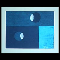 Batik art, 'Eclipse' - African Abstract Batik on Cotton Wall Art