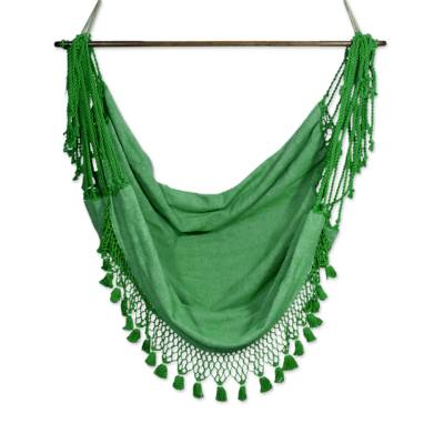 Cotton hammock swing, 'Take Me to the Forest' - Green Hand Crafted Cotton Hammock Swing from Guatemala
