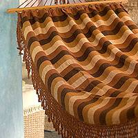 Cotton hammock, 'Cinnamon Hills' (single) - Unique Hand Woven Deluxe Cotton Hammock (Single)