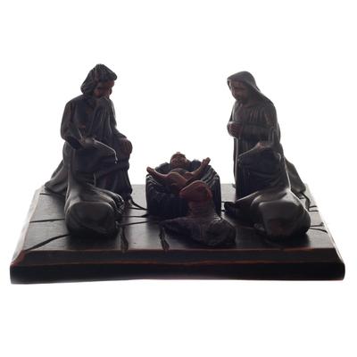 Wood nativity sculpture, 'Elegant Nativity' - Cedar Wood Nativity Scene Sculpture from Peru