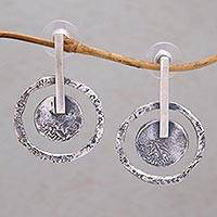 Sterling silver drop earrings, 'Joyous Circles' - 925 Sterling Silver Circle Drop Earrings from Indonesia