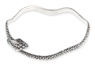 Sterling silver bangle bracelet, 'King Cobra' - Hand Made Sterling Silver Snake Bangle Bracelet