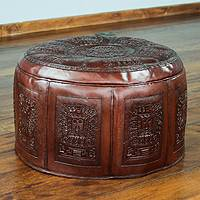 Tooled leather ottoman cover, 'Inca Light'