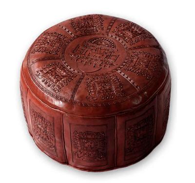 Tooled leather ottoman cover, 'Inca Light' - Fair Trade Traditional Leather Pouf Ottoman Cover