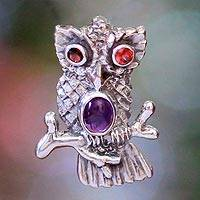 Garnet and amethyst pendant, 'Wise Owl' - Sterling Silver and Amethyst Owl Pendant