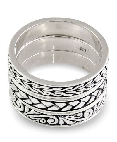 Men's sterling silver stacking rings, 'Three Principles' (set of 3) - Men's Sterling Silver Stacking Rings (Set of 3)