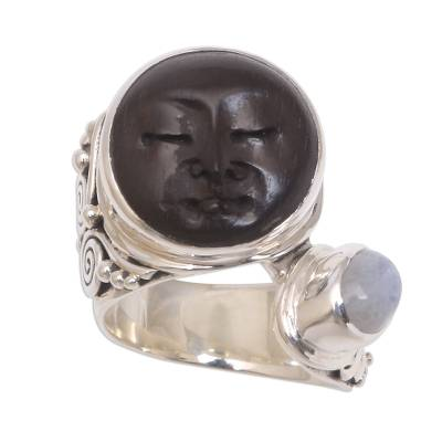 Bali Rainbow Moonstone and Ebony Wood Face Cocktail Ring