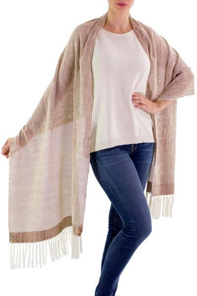 Cotton shawl, 'Natural Combination in Brown' - Pale Beige Cotton Shawl with Fringe from Guatemala