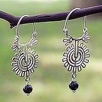 Onyx hoop earrings, 'Xico Flower'