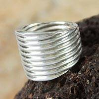 Sterling silver band ring, 'Andean Whirlwind'