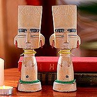 Wood sculptures, 'Female Fante Fertility Twins' (pair)