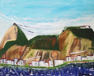 'Sugarloaf Hill' - Landscape Naif Painting