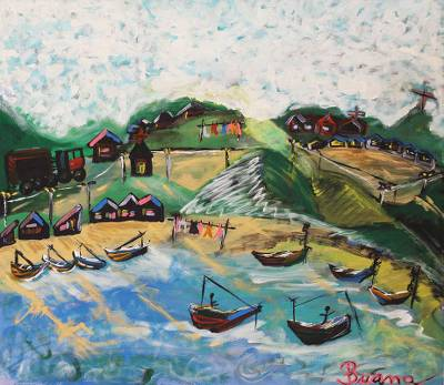 'Village of Fishermen' - Landscape Naif Painting