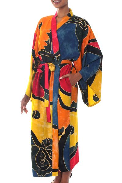 Women's batik robe, 'Paradise Peacock' - Women's Batik Patterned Robe