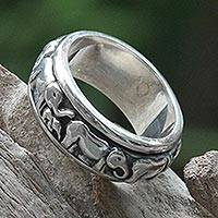 Sterling silver meditation spinner ring, 'Lucky Elephants' - Handcrafted Silver Spinner Meditation Ring