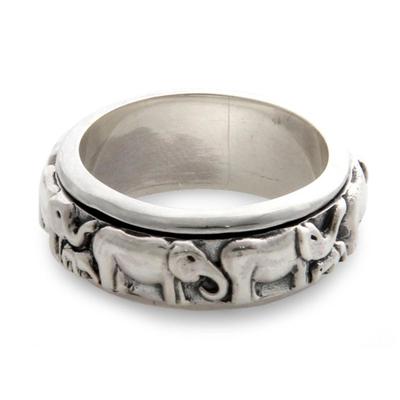 Sterling silver meditation spinner ring, 'Lucky Elephants' - Handcrafted Silver Spinner Meditation Ring