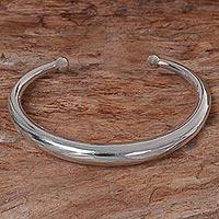 Sterling silver cuff bracelet, 'Majestic Horn'