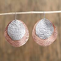 Sterling silver and copper dangle earrings, 'Rippling Eclipse' - Sterling Silver and Copper Dangle Earrings from Mexico