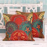 Applique cushion covers, 'Glorious' (pair) - 2 Orange and Teal Embroidered Applique Cushion Covers