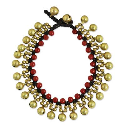 Fair Trade Beaded Bracelet with Red Quartz and Brass
