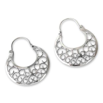 Sterling silver hoop earrings, 'Climbing Vines' - Fine Silver Hoop Earrings from Peru