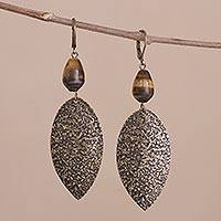 Tiger's eye dangle earrings, 'Plumes of Bronze' - Peruvian Tiger's Eye Dangle Earrings with Antiqued Finish