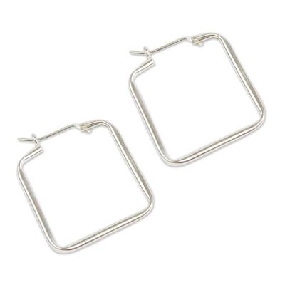 Sterling silver hoop earrings, 'Goddess of Fertility' - Modern Handmade Silver Hoop Earrings