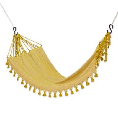 Cotton hammock, 'Golden Autumn' (single) - Goldenrod Yellow Cotton Hammock with Tassels (Single)