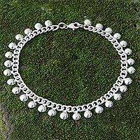 Sterling silver anklet, 'Palace Charms' - Handmade Sterling Silver Anklet