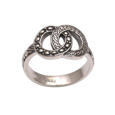 Sterling silver cocktail ring, 'Master of Infinity' - Handmade 925 Sterling Silver Infinity Symbol Cocktail Ring
