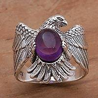 Amethyst cocktail ring, 'Brave Garuda' - Amethyst and 925 Sterling Silver Eagle Ring from Bali