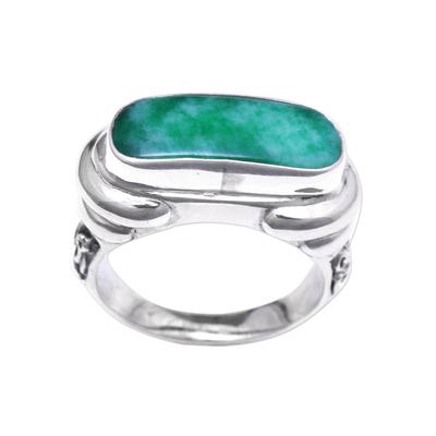 Men's quartz ring, 'Ancient Wisdom' - Men's Green Quartz Ring from Indonesia