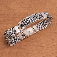 Sterling silver pendant bracelet, 'Balinese Jungle' - Floral Sterling Silver Pendant Bracelet from Bali