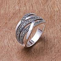 Sterling silver band ring, 'Still Enamored'