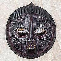 Ghanaian wood mask, 'Ewe Linguist' - Fair Trade African Wood Mask