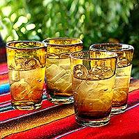 Drinking glasses, 'Amber Angles' (set of 4) - Unique Handblown Recycled Glass Water Drinkware (Set of 4)