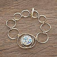 Gold plated glass bracelet 'Roman Mirror' - 22k Gold Plated Roman Glass Bracelet